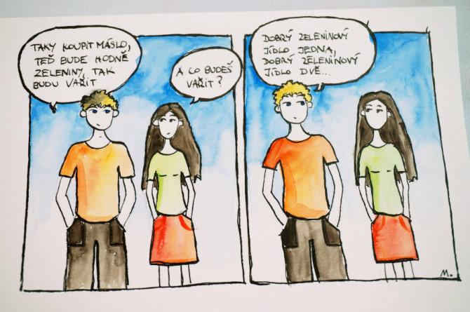 komiks - zeleninový jídlo