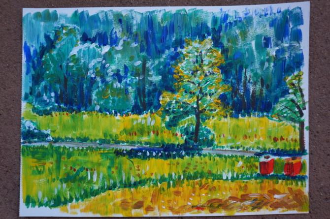 obrázek akryl - pohled na strom