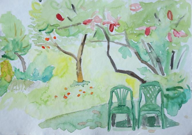akvarel - křesla a keř