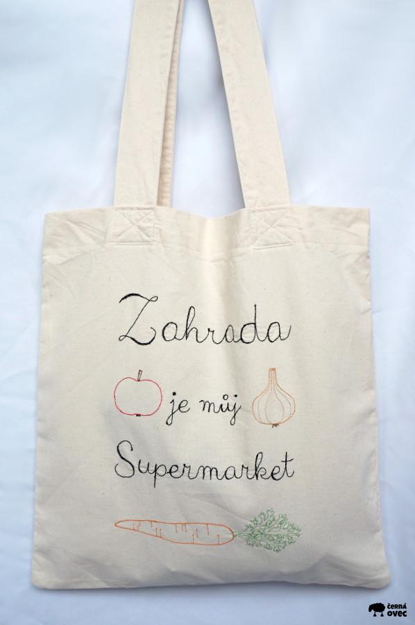 nákupní taška z kanafasu s výšivkou Zahrada