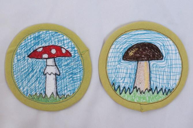 podložka pod hrníček - výšivka houby