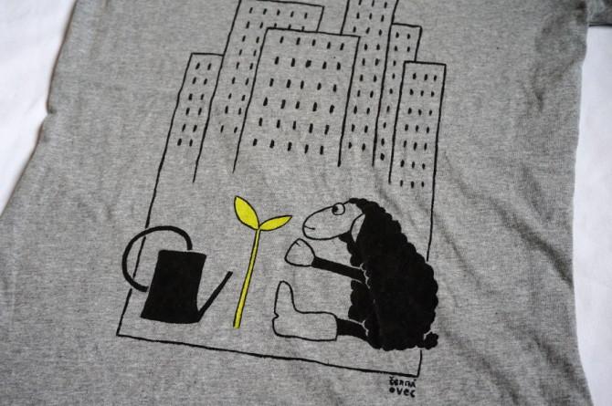 tričko s ovcí - ručně malované