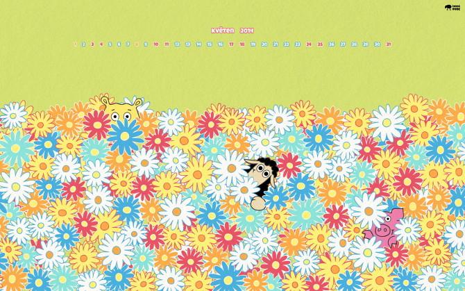 tapeta na plochu - květen 2014 - květinové děti