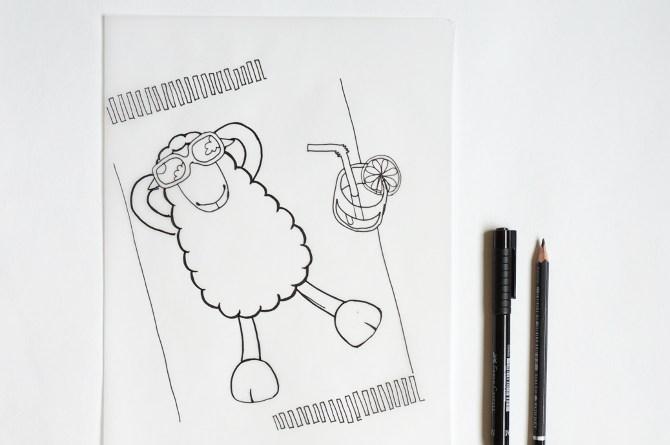 ovec na pláži - skica - léto