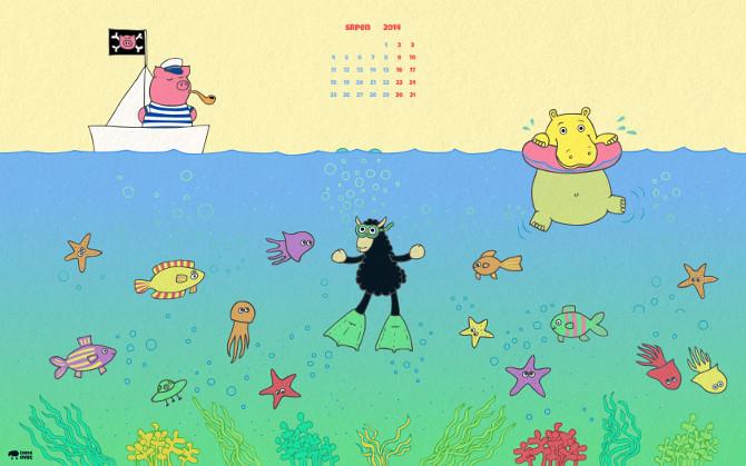 letní wallpaper - plavec, neplavec a kapitán prasátko