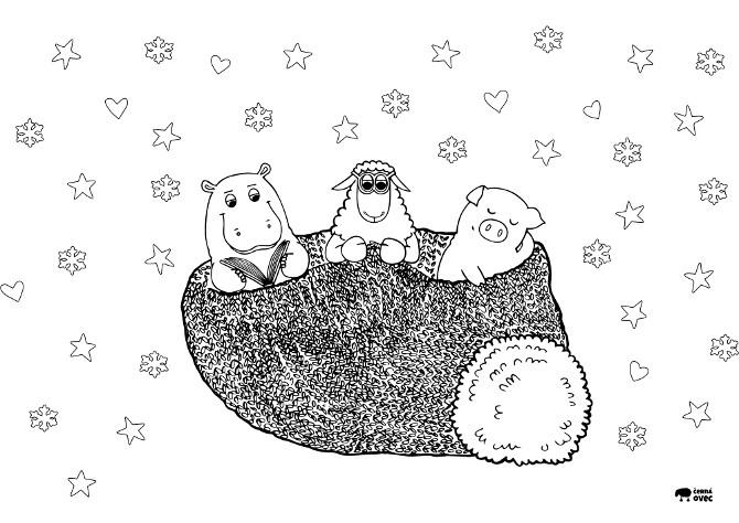 omalovánka ke stažení – zimní spánek – pletení