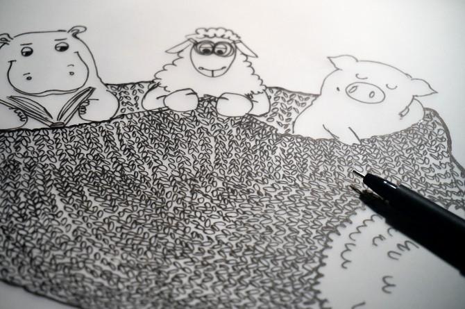 zimní spánek – pletení – kresba