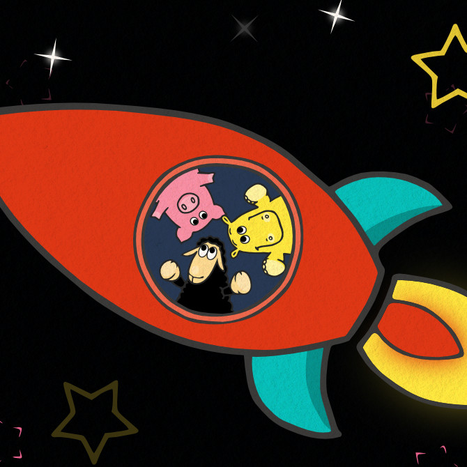 space sheep  - vesmír - zvířátka - raketa
