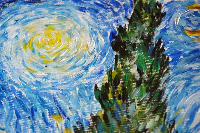 kopie Van Gogha: Cesta s cypřišem a hvězdou