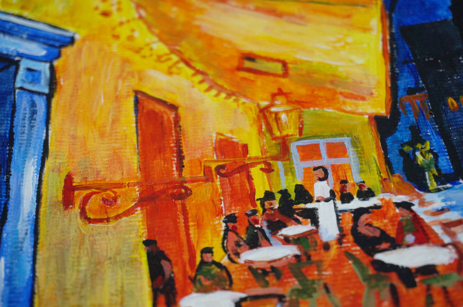 kopie Van Gogha: Terasa kavárny v noci
