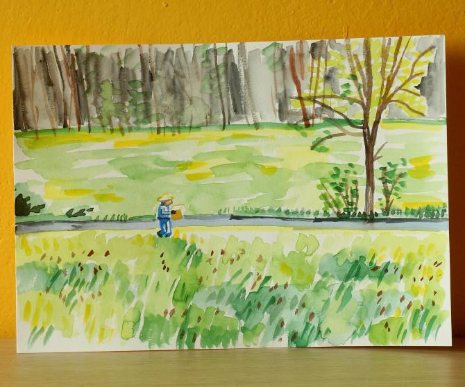 včelař nesoucí roj - akvarel, skica