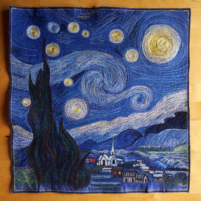 hvězdná noc - vyšívaný obraz na kanafasu podle Van Gogha - Starry Night embroidery