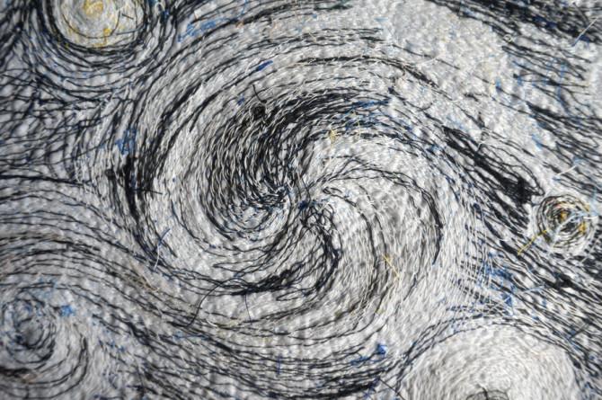 vyšívaný obraz podle Van Gogha - rub