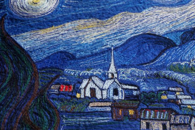 hvězdná noc - vyšívaný obraz - Van Gogh Starry Night embroidered