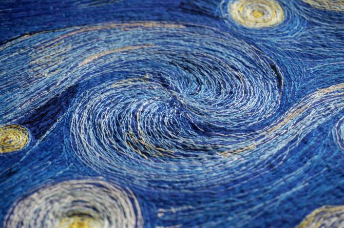 vyšívaný obraz Hvězdná noc - detail