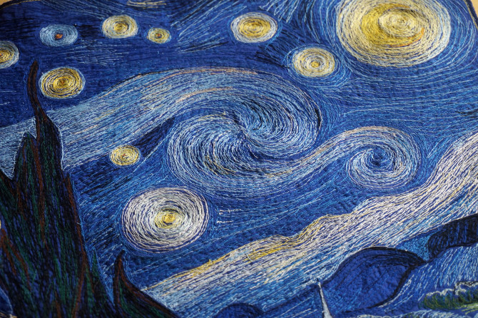 výšivka Van Gogh, vyšívaný obraz hvězdná noc, Starry Night embroidery
