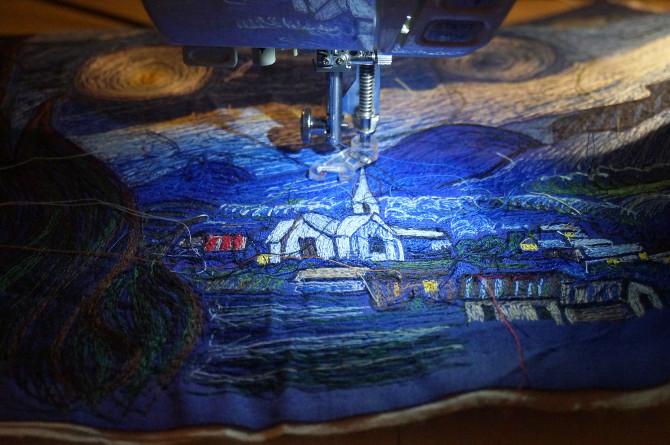 výšivka podle Van Gogha - vyšívání na stroji