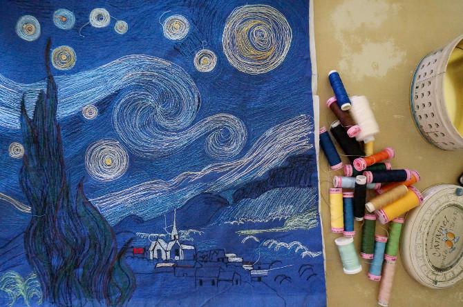 vyšívaný obraz podle Van Gogha - vyšívání na stroji