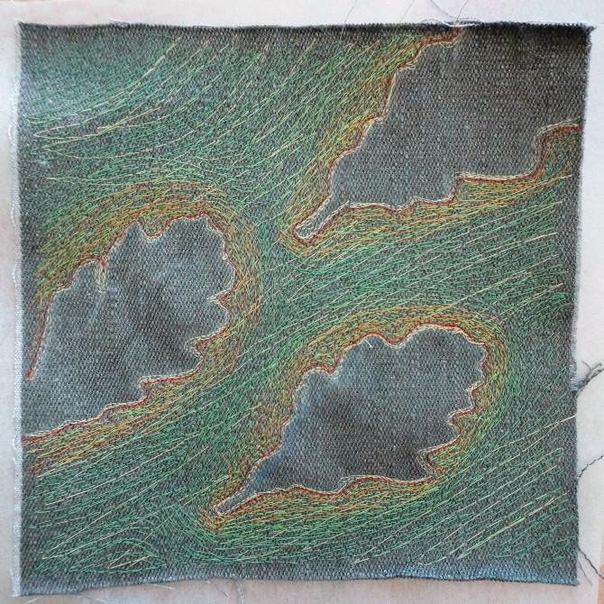 výšivka - dubové listy