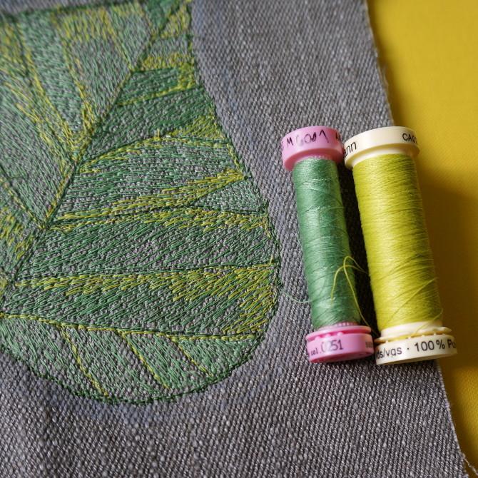 nitě a vyšívání - lipový list - tilia embroidery