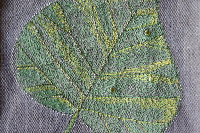 vyšívaný list lípy - tilia embroidery