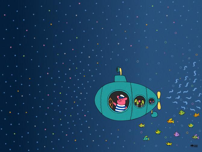 kapitán prasátko - moře - ponorka