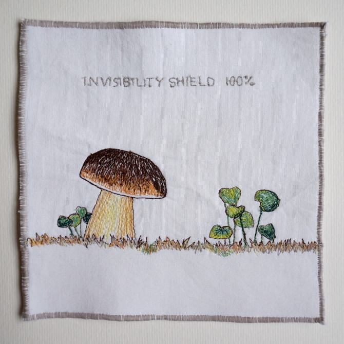mushroom invisibility shield embroidery - výšivka hřib