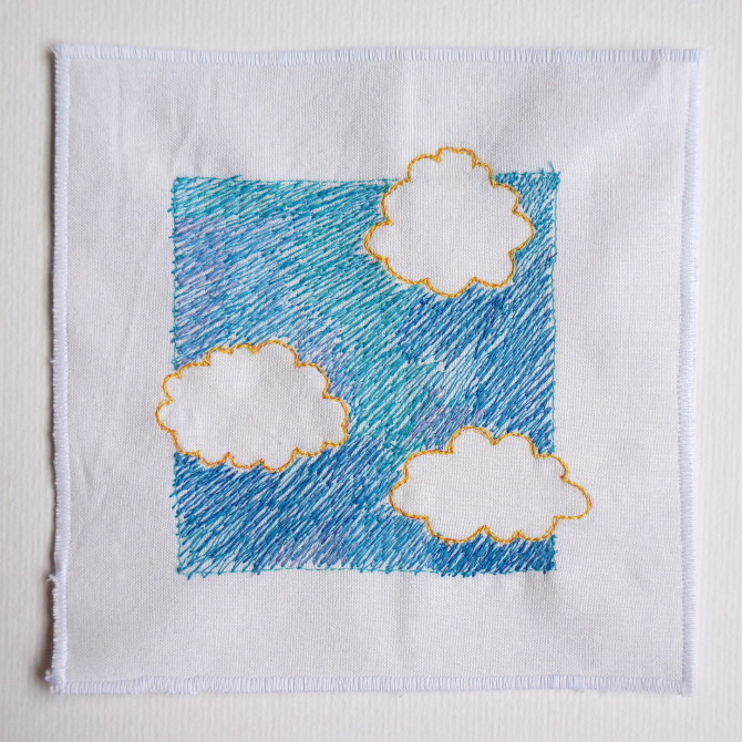 sky clouds embroidery - výšivka oblaka