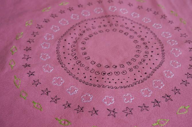 vyšívání na stroji - mandala handmade embroidery