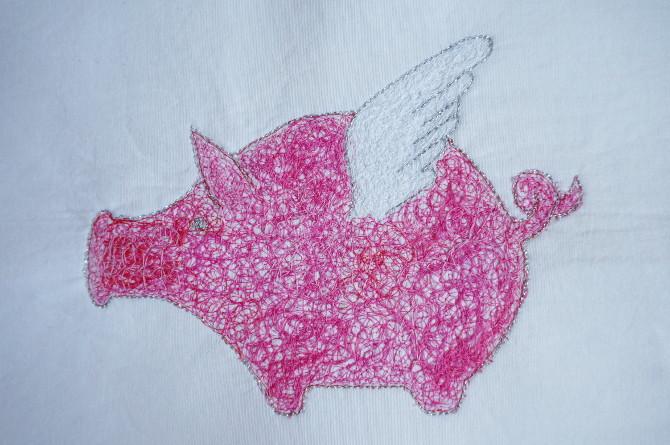 flying pig embroidered - vyšívané létající prasátko