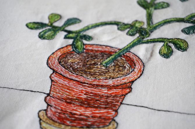 crassula free motion embroidery - vyšívání na stroji- kytka tlustice