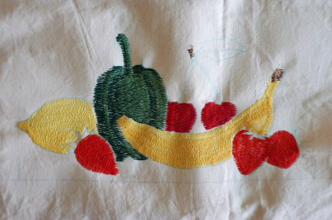 výšivka ovoce a zelenina