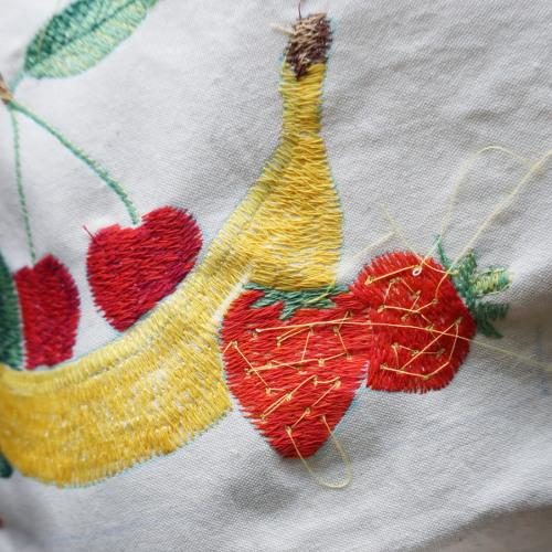 vyšívání na stroji -  ovoce a zelenina
