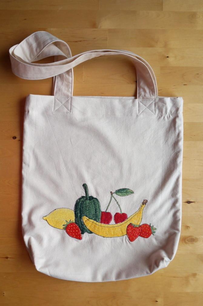 nákupní taška s výšivkou  - na ovoce a zeleninu