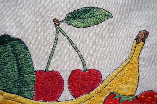 Ovoce a zelenina – taška s výšivkou