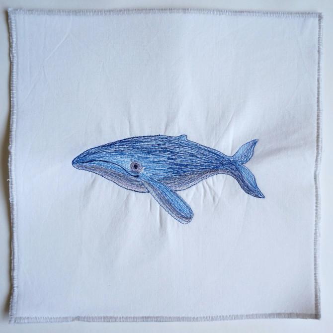 blue whale embroidery - výšivka velryba