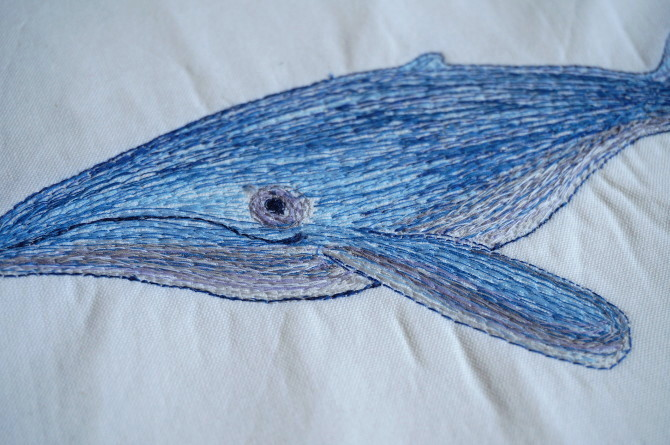 blue whale embroidered - vyšívaná velryba