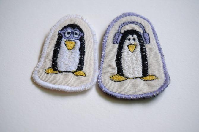 vyšívaný přívěsek - tučňák - penguin embroidery
