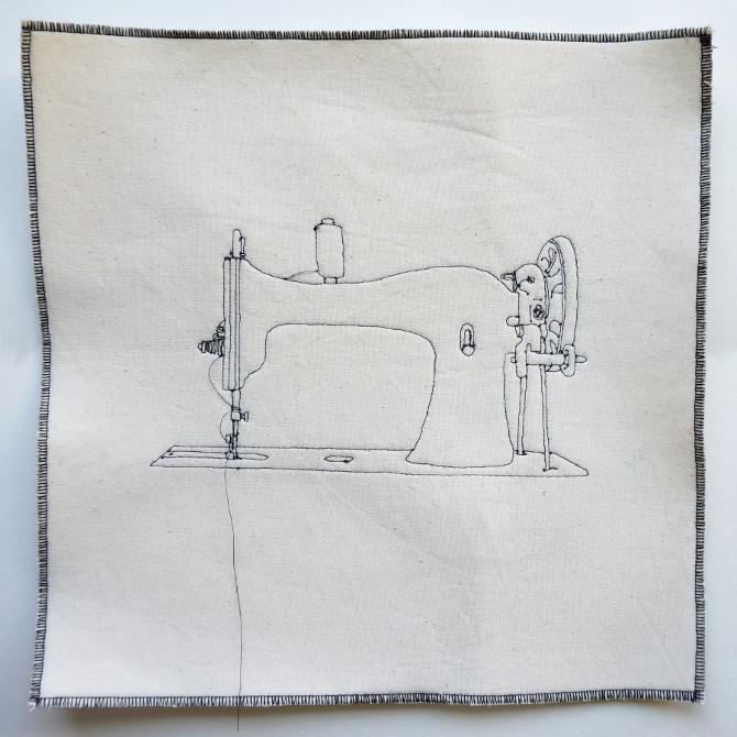 šicí stroj - vyšívaný obraz
