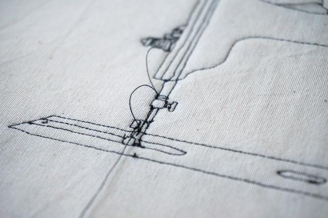šicí stroj - vyšívání - detail
