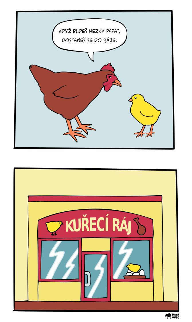 komiks kuřecí ráj / když budeš hezky papat, dostaneš se do ráje