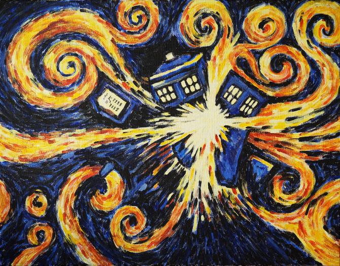 obraz Exploding tardis – van gogh – doctor who