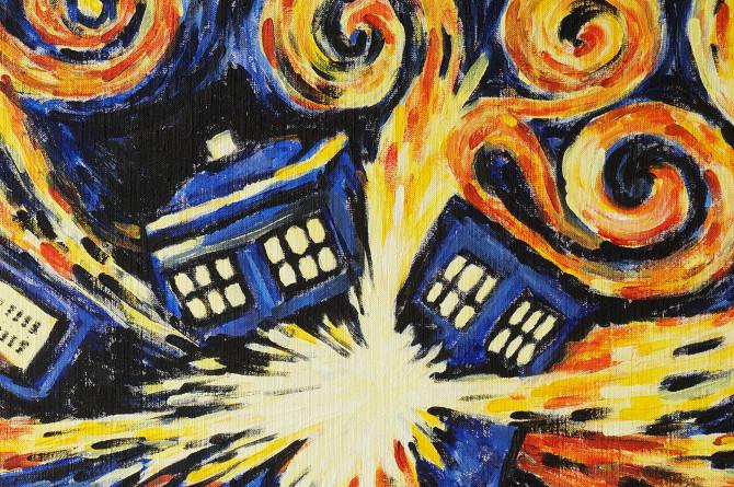 obraz Vybuchující tardis – van gogh – doctor who