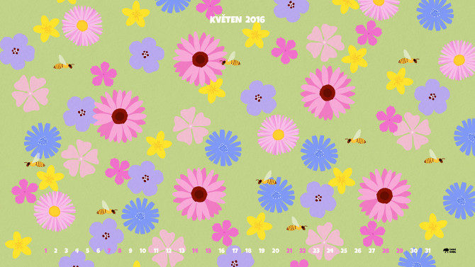 ilustrace květiny a včely