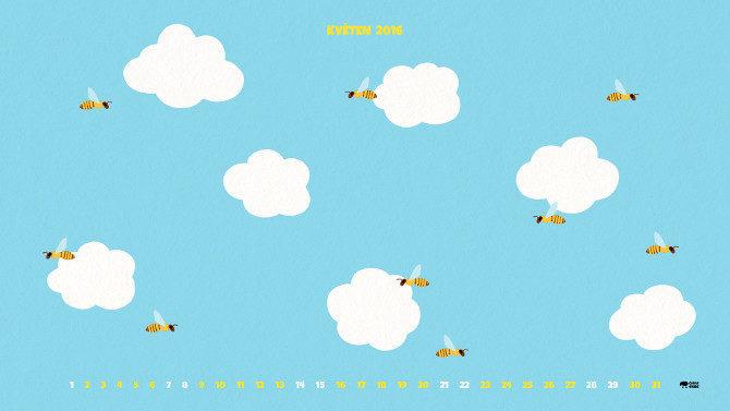ilustrace oblaka a včely