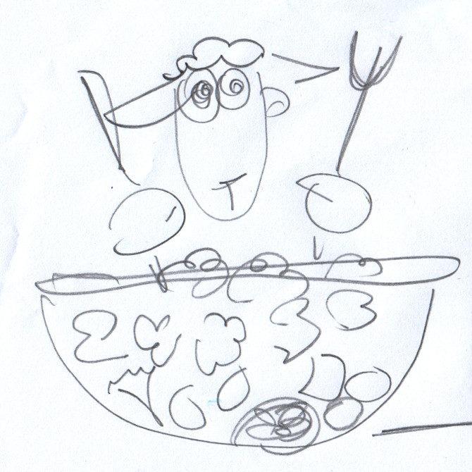 salát skica