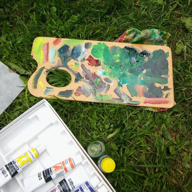 olejové barvy a paleta, malování