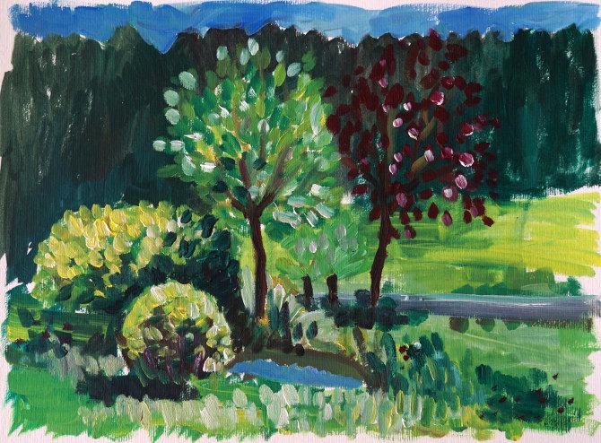 obraz olejové barvy - stromy