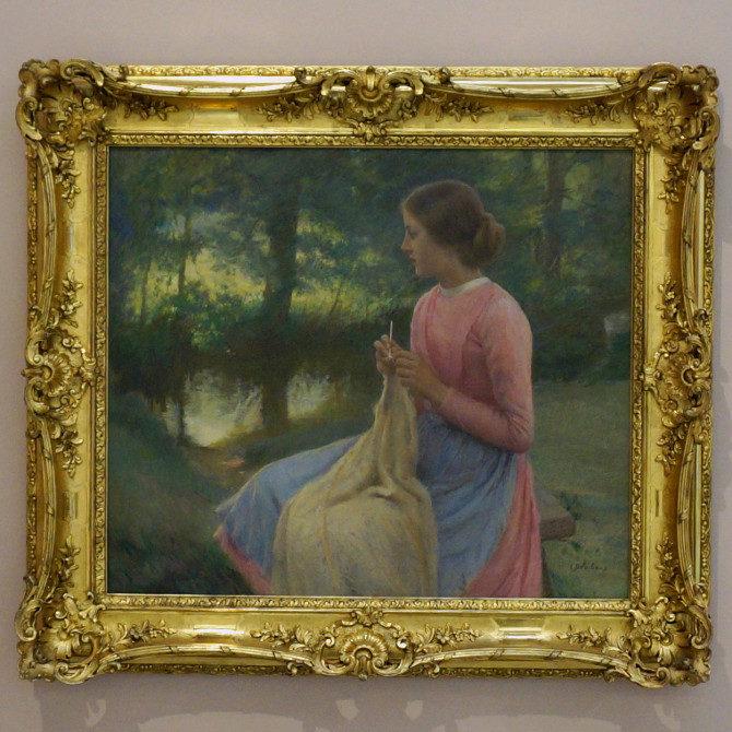 Léon Delachaux: Pletoucí děvče, Knitting girl