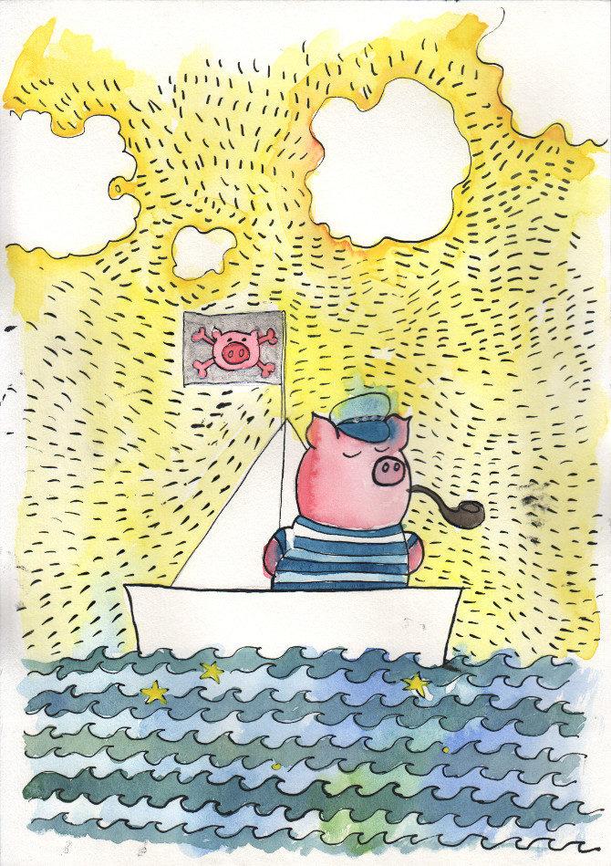 kapitán prasátko akvarel
